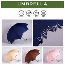 【雨洋工坊X日系淑女傘】刺繡蝴蝶結直立傘