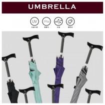 【雨洋工坊x多功能登山休閒傘】五段可調拐杖傘 黑膠傘