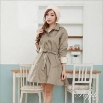 【雨洋工坊X下雨天也可以很美麗系列】時尚防水單排釦和風風雨衣-卡其色
